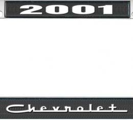 OER 2001 Chevrolet Style #5 - Black and Chrome License Plate Frame with White Lettering *LF2230105A