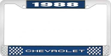 OER 1988 Chevrolet Style # 1 Blue and Chrome License Plate Frame with White Lettering LF2238801B