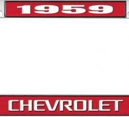 OER 1959 Chevrolet Style #3 Red and Chrome License Plate Frame with White Lettering LF2235903C