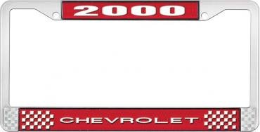 OER 2000 Chevrolet Style # 1 - Red and Chrome License Plate Frame with White Lettering LF2230001C