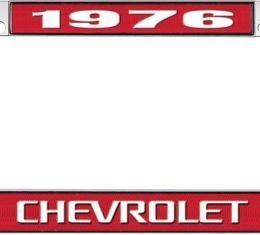 OER 1976 Chevrolet Style #3 - Red and Chrome License Plate Frame with White Lettering *LF2237603C