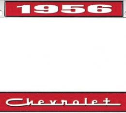 OER 1956 Chevrolet Style #5 Red and Chrome License Plate Frame with White Lettering LF2235605C