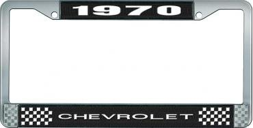 OER 1970 Chevrolet Style # 1 Black and Chrome License Plate Frame with White Lettering LF2237001A