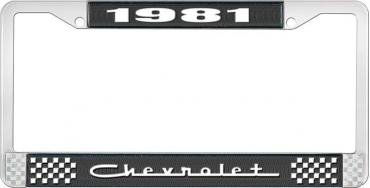 OER 1981 Chevrolet Style # 5 Black and Chrome License Plate Frame with White Lettering LF2238105A