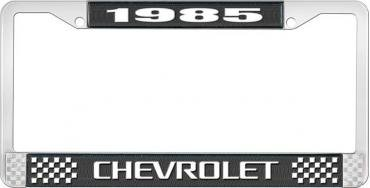 OER 1985 Chevrolet Style #3 Black and Chrome License Plate Frame with White Lettering *LF2238503A