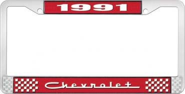 OER 1991 Chevrolet Style #5 - Red and Chrome License Plate Frame with White Lettering *LF2239105C