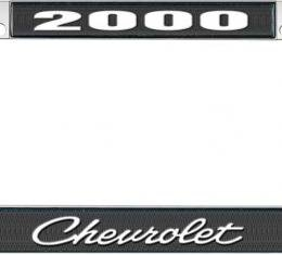 OER 2000 Chevrolet Style #4 - Black and Chrome License Plate Frame with White Lettering *LF2230004A