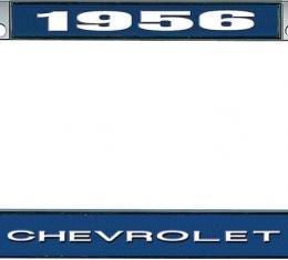 OER 1956 Chevrolet Style #1 - Blue and Chrome License Plate Frame with White Lettering *LF2235601B