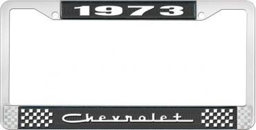 OER 1973 Chevrolet Style # 5 Black and Chrome License Plate Frame with White Lettering LF2237305A