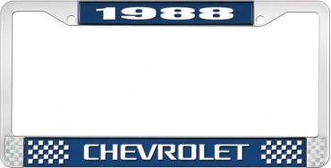 OER 1988 Chevrolet Style # 3 Blue and Chrome License Plate Frame with White Lettering LF2238803B