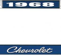 OER 1968 Chevrolet Style #4 - Blue and Chrome License Plate Frame with White Lettering *LF2236804B