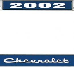 OER 2002 Chevrolet Style #2 - Blue and Chrome License Plate Frame with White Lettering *LF2230202B