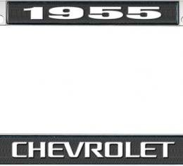 OER 1955 Chevrolet Style #3 Black and Chrome License Plate Frame with White Lettering LF2235503A