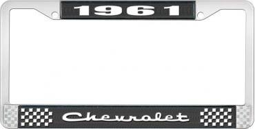 OER 1961 Chevrolet Style #2 Black and Chrome License Plate Frame with White Lettering LF2236102A