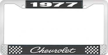 OER 1977 Chevrolet Style # 4 Black and Chrome License Plate Frame with White Lettering LF2237704A