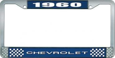OER 1960 Chevrolet Style #1 Blue and Chrome License Plate Frame with White Lettering LF2236001B