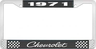 OER 1971 Chevrolet Style # 4 Black and Chrome License Plate Frame with White Lettering LF2237104A