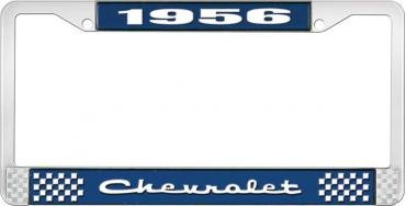 OER 1956 Chevrolet Style #2 Blue and Chrome License Plate Frame with White Lettering LF2235602B