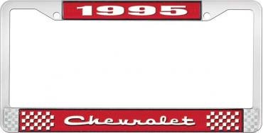 OER 1995 Chevrolet Style # 2 Red and Chrome License Plate Frame with White Lettering LF2239502C