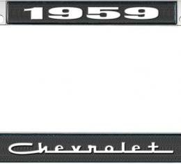 OER 1959 Chevrolet Style #5 Black and Chrome License Plate Frame with White Lettering LF2235905A
