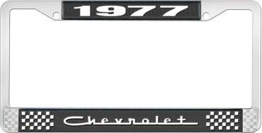 OER 1977 Chevrolet Style # 5 Black and Chrome License Plate Frame with White Lettering LF2237705A