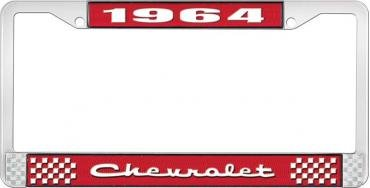 OER 1964 Chevrolet Style #2 Red and Chrome License Plate Frame with White Lettering LF2236402C