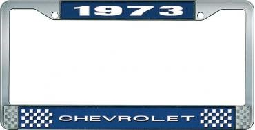 OER 1973 Chevrolet Style # 1 Blue and Chrome License Plate Frame with White Lettering LF2237301B