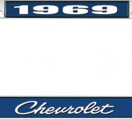 OER 1969 Chevrolet Style #4 - Blue and Chrome License Plate Frame with White Lettering *LF2236904B