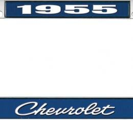 OER 1955 Chevrolet Style #4 Blue and Chrome License Plate Frame with White Lettering LF2235504B