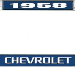 OER 1958 Chevrolet Style #3 - Blue and Chrome License Plate Frame with White Lettering *LF2235803B