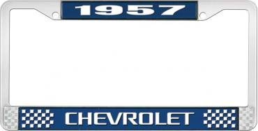 OER 1957 Chevrolet Style #3 Blue and Chrome License Plate Frame with White Lettering LF2235703B