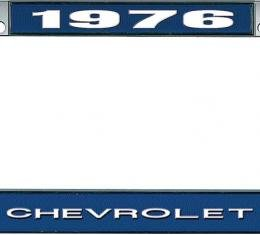 OER 1976 Chevrolet Style #1 - Blue and Chrome License Plate Frame with White Lettering *LF2237601B