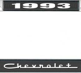 OER 1993 Chevrolet Style #5 - Black and Chrome License Plate Frame with White Lettering *LF2239305A