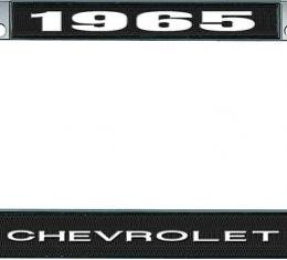 OER 1965 Chevrolet Style #1 - Black and Chrome License Plate Frame with White Lettering *LF2236501A