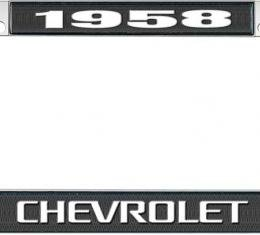 OER 1958 Chevrolet Style #3 - Black and Chrome License Plate Frame with White Lettering *LF2235803A
