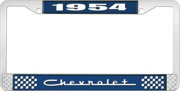 OER 1954 Chevrolet Style #5 Blue and Chrome License Plate Frame with White Lettering LF2235405B