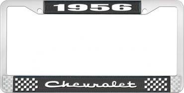 OER 1956 Chevrolet Style #2 Black and Chrome License Plate Frame with White Lettering LF2235602A