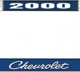OER 2000 Chevrolet Style #4 - Blue and Chrome License Plate Frame with White Lettering *LF2230004B