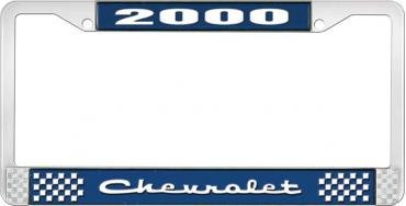 OER 2000 Chevrolet Style #2 Blue and Chrome License Plate Frame with White Lettering *LF2230002B