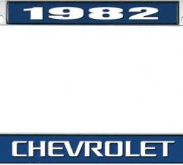 OER 1982 Chevrolet Style #3 - Blue and Chrome License Plate Frame with White Lettering *LF2238203B