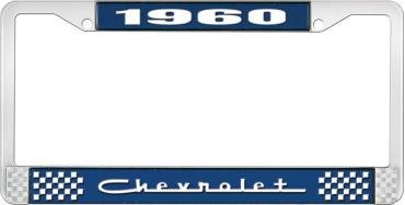 OER 1960 Chevrolet Style #5 Blue and Chrome License Plate Frame with White Lettering LF2236005B