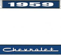 OER 1959 Chevrolet Style #5 Blue and Chrome License Plate Frame with White Lettering LF2235905B