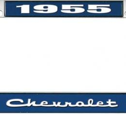 OER 1955 Chevrolet Style #2 - Blue and Chrome License Plate Frame with White Lettering *LF2235502B