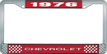 OER 1976 Chevrolet Style #1 - Red and Chrome License Plate Frame with White Lettering *LF2237601C