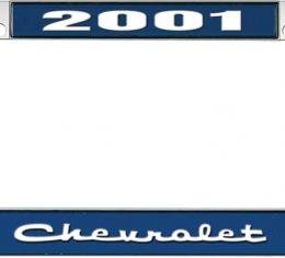 OER 2001 Chevrolet Style #2 - Blue and Chrome License Plate Frame with White Lettering *LF2230102B