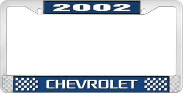 OER 2002 Chevrolet Style #3 - Blue and Chrome License Plate Frame with White Lettering LF2230203B