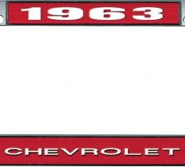 OER 1963 Chevrolet Style #1 Red and Chrome License Plate Frame with White Lettering LF2236301C