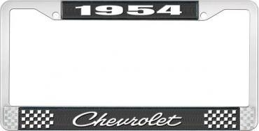 OER 1954 Chevrolet Style #4 Black and Chrome License Plate Frame with White Lettering *LF2235404A
