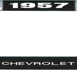 OER 1957 Chevrolet Style #1 Black and Chrome License Plate Frame with White Lettering LF2235701A