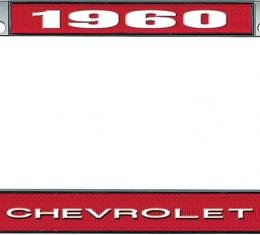 OER 1960 Chevrolet Style #1 - Red and Chrome License Plate Frame with White Lettering *LF2236001C